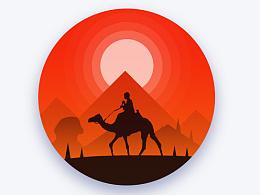 微光风景 大象+骆驼