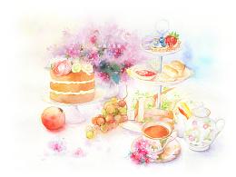 水彩手绘—《梦中的下午茶》