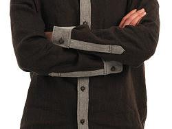 21度晨原创设计男装品牌拼接亚麻与人字纹毛料衬衫