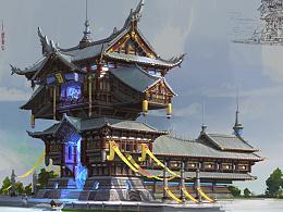 洛克猴杜震课堂范画中国风建筑设计步骤图