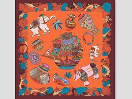 《丝域真情》邮折&海上丝绸路[Maritime Silk Road]90×90厘米方巾