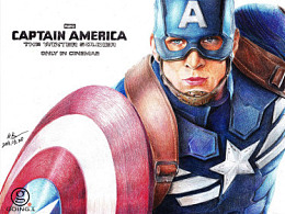 GR一笔一画 之 彩铅画 《美国队长》
