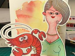 给朋友画的小龙虾