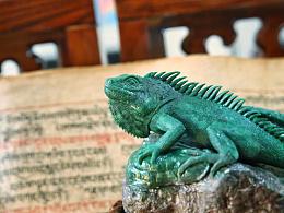 轻拍 广绿玉极品俏色绿鬣蜥摆件