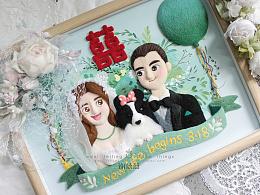 囍囍的羊毛毡 之 森林婚礼毛毡画