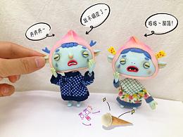 大桃和小桃  角色设计 粘土人偶