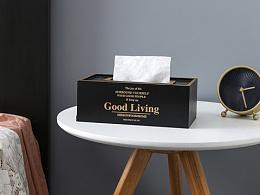 北欧INS简约创意木质纸巾盒客厅抽纸盒家用餐巾纸