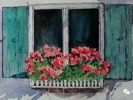 林田水彩视频 开满鲜花的窗台