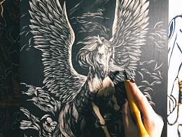 手工雕刻黑白木刻版画【飞马】