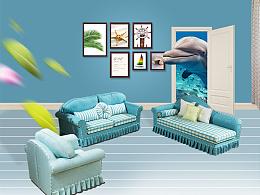 原创简美夏威夷海蓝色美式乡村简约布艺棉麻沙发优雅浪漫详情页-来自海的灵感