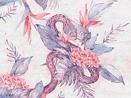 【水彩】Flower&Snake