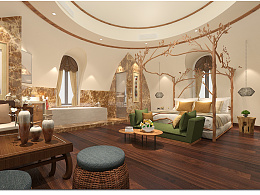 蒙古包酒店客房-东南亚、田园风格