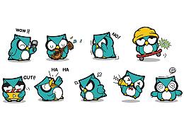 人类实验室卡通吉祥物形象表情动态设计表情插画集合