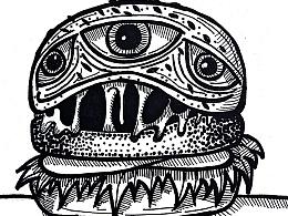 手绘-线条-怪物