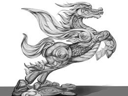 龙马圆雕设计