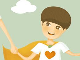 湖南卫视《一年级》插画之超人父子