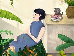 气质女性插画创作