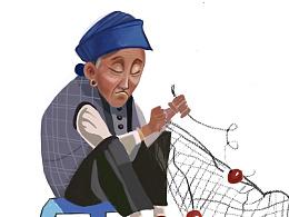 织渔网的老奶奶