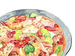【水彩】美食—麻辣香锅