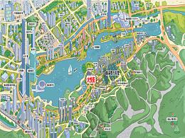长沙梅溪湖CBD.万科商业地产手绘地图