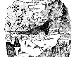 《空谷悠然》黑白稿/木头猫插画设计工作室