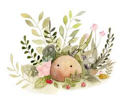 花丛中有石头