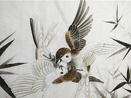 竹林雀斗图——白叩