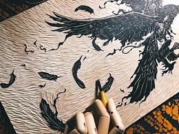 新作手工雕刻黑白木刻版画装饰画艺术品