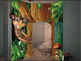 银泰中心儿童乐园3D森林主题墙绘立体画现场绘制步骤
