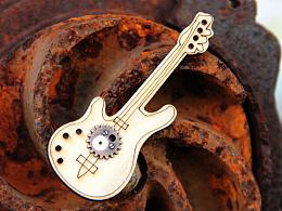 原创设计师 手工蒸汽朋克木头吉他领带衬衣插针西装马甲外套胸针