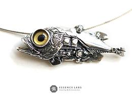 骸设计师原创【行者】蒸汽朋克机械鱼手工925纯银吊坠项链