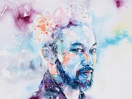 陈奕迅水彩创作过程。近期插画作品 小合集