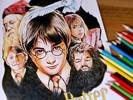 彩铅练习,哈利波特与魔法石