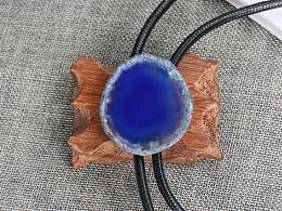 原创设计 天然原石系列 蓝色玛瑙切片创意礼物波洛领带 bolo tie
