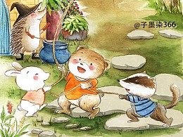 一组小动物的水彩插画