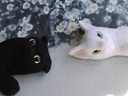羊毛毡黑猫白猫
