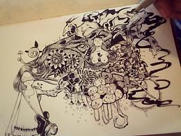 「少女的綺想」针管笔练习作。