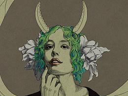人物肖像风格化练习-装饰风格;水墨风格