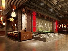 翔雁美食汇,大润发六楼2000平米中式美食城设计。
