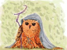 猫头鹰。 儿童插画