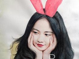 带兔子耳朵少女