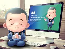 吉祥物设计:《吉乐》设计案,中国风禅意佛教小和尚僧人卡通形象,AJ酱小饼