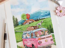小动物们的假期|水彩插画