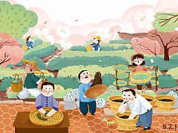 诚茶馆包装插画