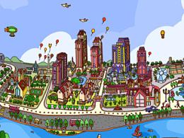 地产商业插画----西安麓湾小镇