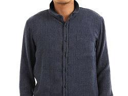 21度晨原创设计男装品牌轻薄软棉蓝麻长袖衬衫