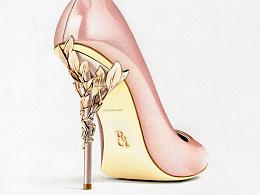 彩铅插画—Ralph&Russo高跟鞋
