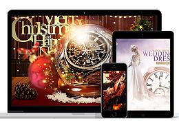 【海报合集】圣诞节手表/婚纱/万圣节女包/女鞋/香水海报banner