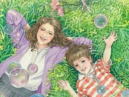 水彩插画,母子