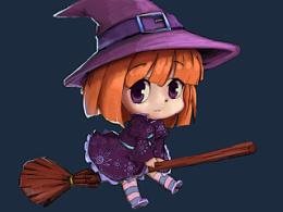 黑夜中的小巫女